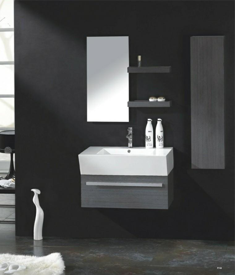 cuarto baño color gris oscuro