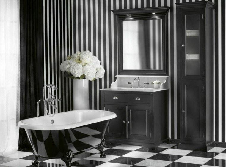 baño estilo retro blanco negro