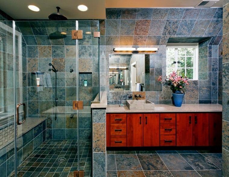Azulejos Baño Azules:Diseño de baño moderno con azulejos de tonos azules