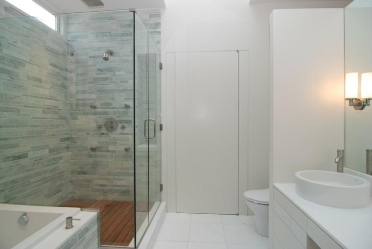 Baño Pequeno Moderno Con Ducha:baños modernos con azulejos de color celeste