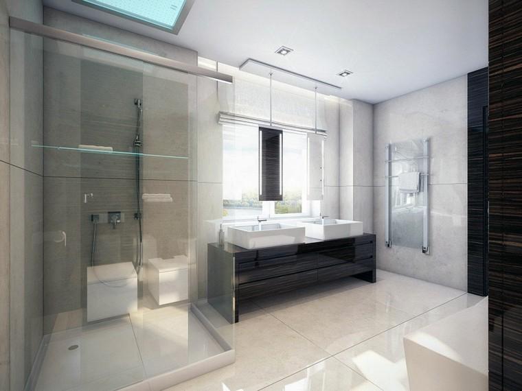 Baños Duchas Modernos:baño moderno con revestimiento de rectificados de mármol