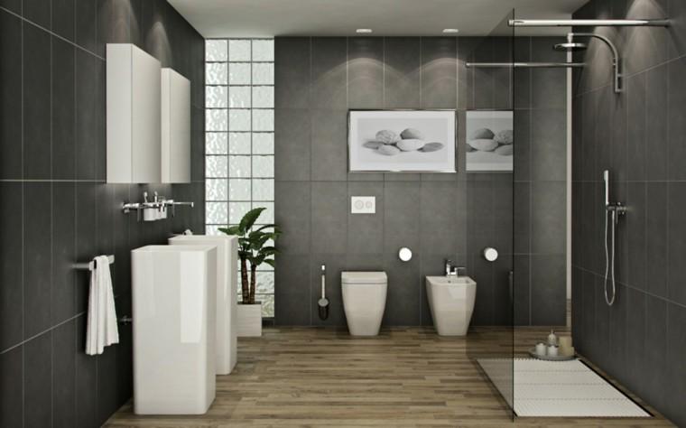 baños modernos con ducha color gris