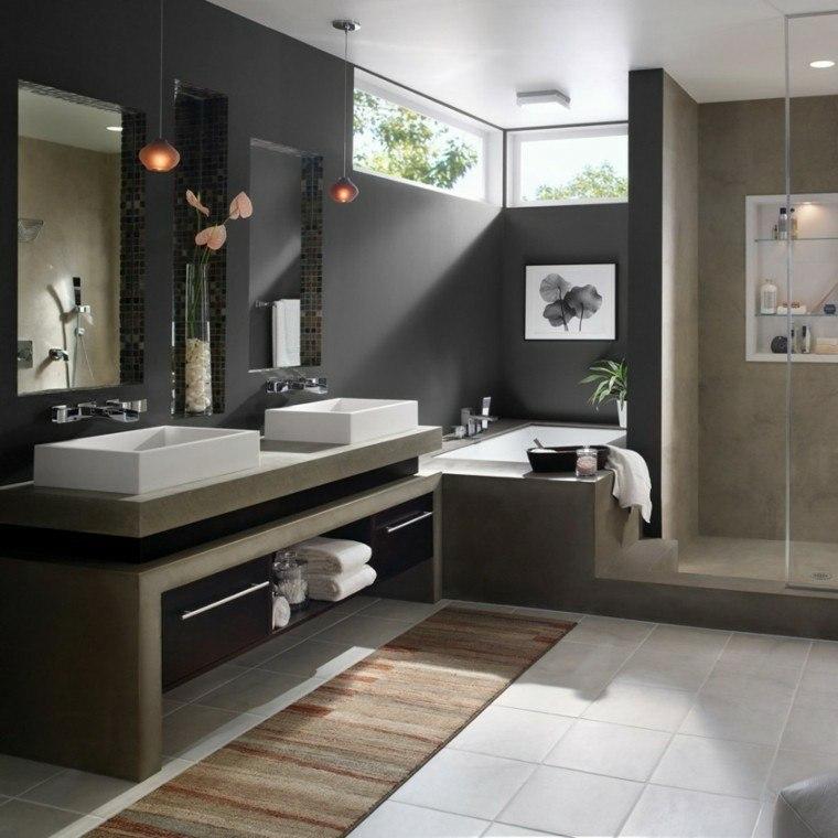 Baños Modernos Grises:baños modernos tonos grises paredes