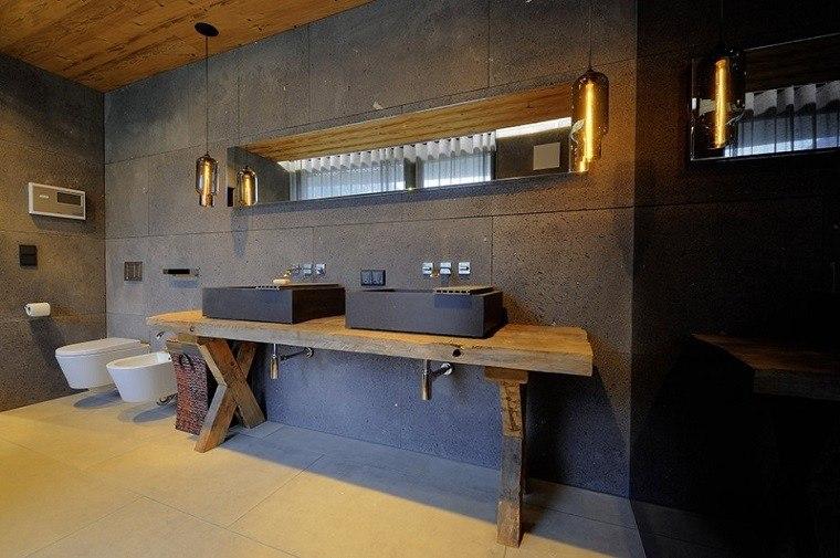baños rusticos diseño acero oscuro madera