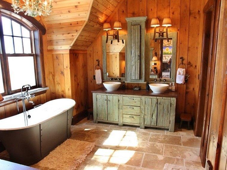 baños rusticos diseño alfombra elegante bañera