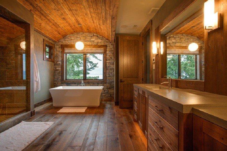 baños rusticos diseño calido amplio acogedor