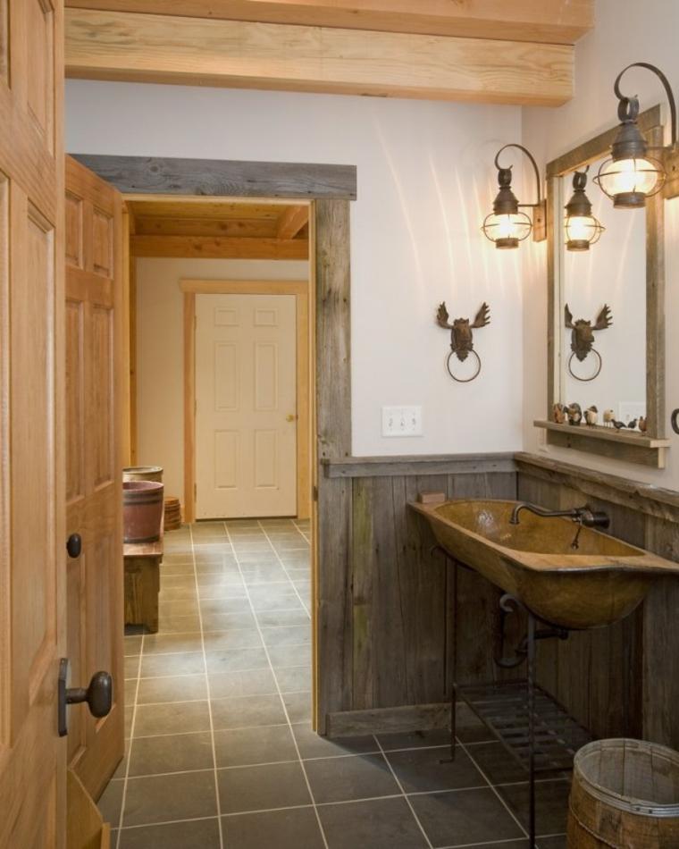 baños rusticos diseño campo cazador animales