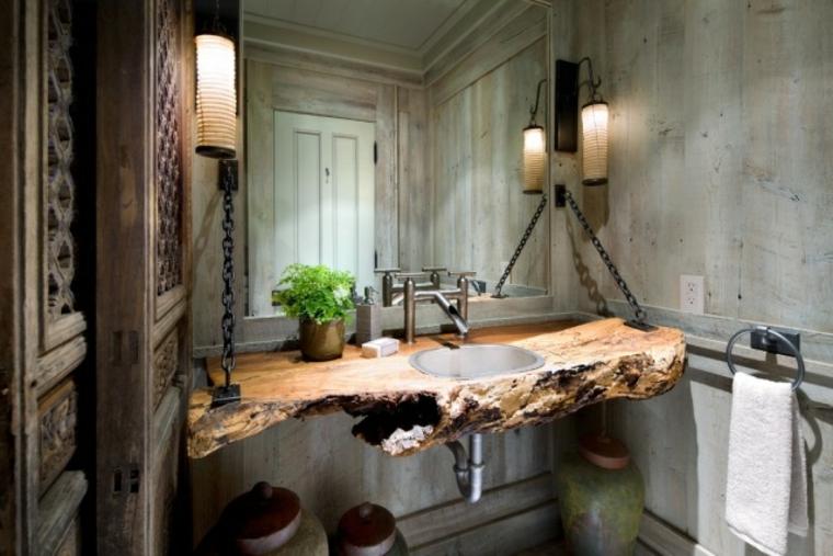 baños rusticos diseño encimera lavabo calido