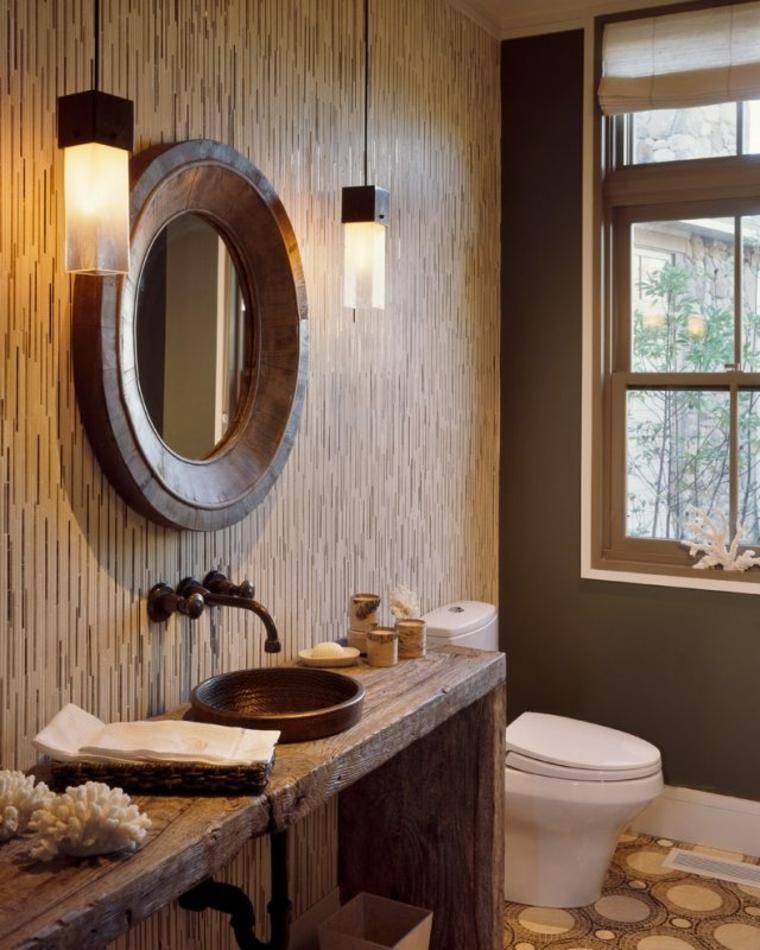 baños rusticos diseño espejo calido lamparas