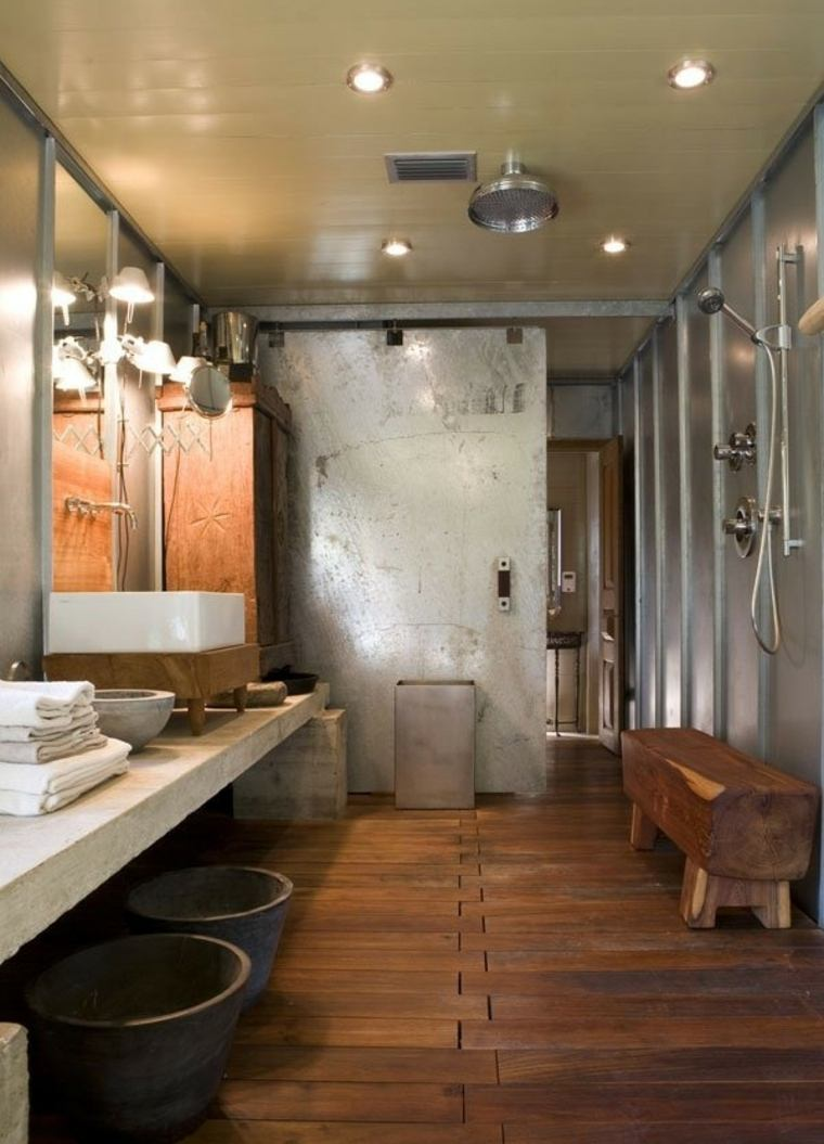 baños rusticos diseño lamparas decorativas banca