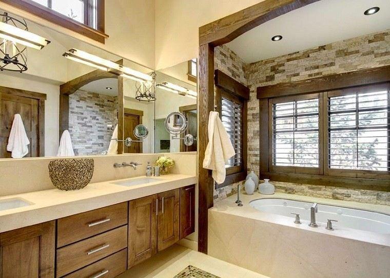 baños rusticos diseño madera mimbre luces