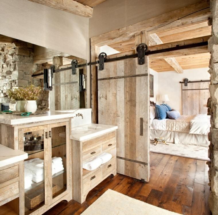 baños rusticos diseño madera rocas puerta
