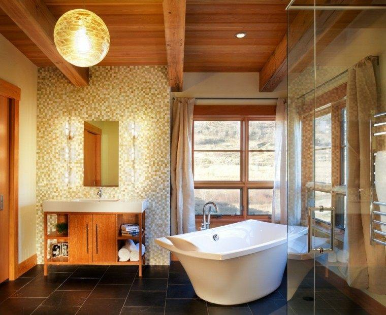 baños rusticos diseño moderno estilo calido