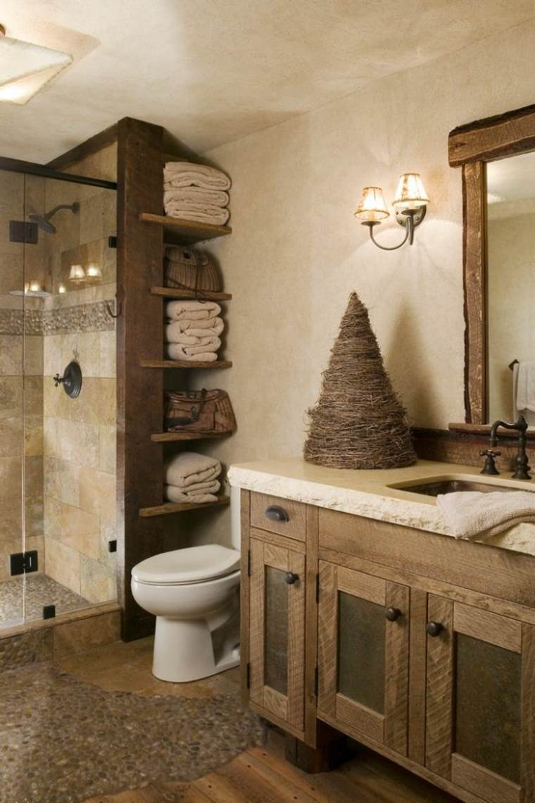 baños rusticos diseño toallero paredes cono