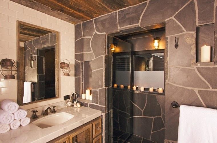 baños rusticos diseño velas faroles toallas