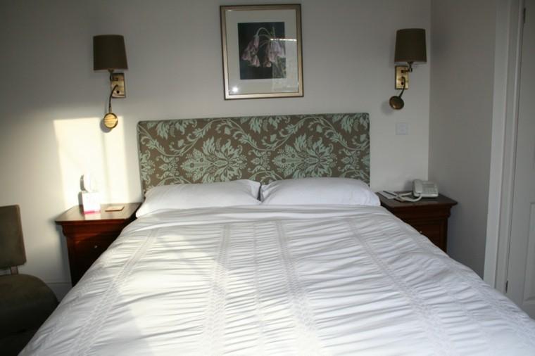 cabecero tapizado tela adornos cama