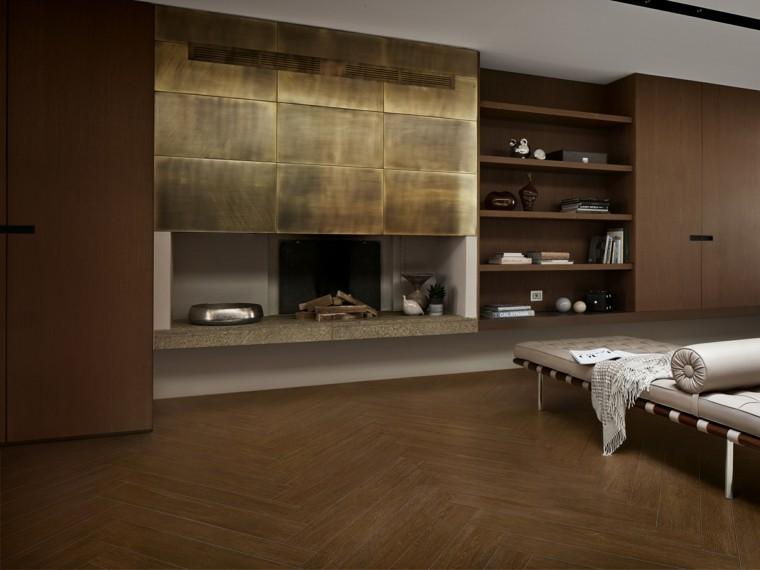 Baldosas azulejos y losas que imitan madera muy originales - Chimeneas de pared modernas ...