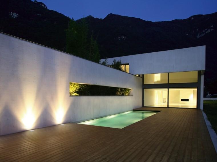 baldosas azulejos imitan madera jardin piscina estilo minimalista ideas