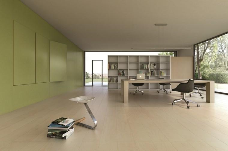 baldosas azulejos imitan madera oficina pared verde ideas