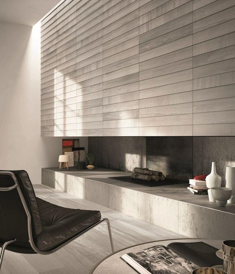 baldosas azulejos imitan madera pared salon moderno chimenea preciosa ideas
