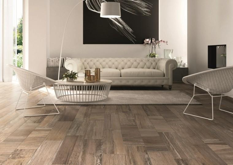 baldosas azulejos imitan madera salon muebles blancos ideas