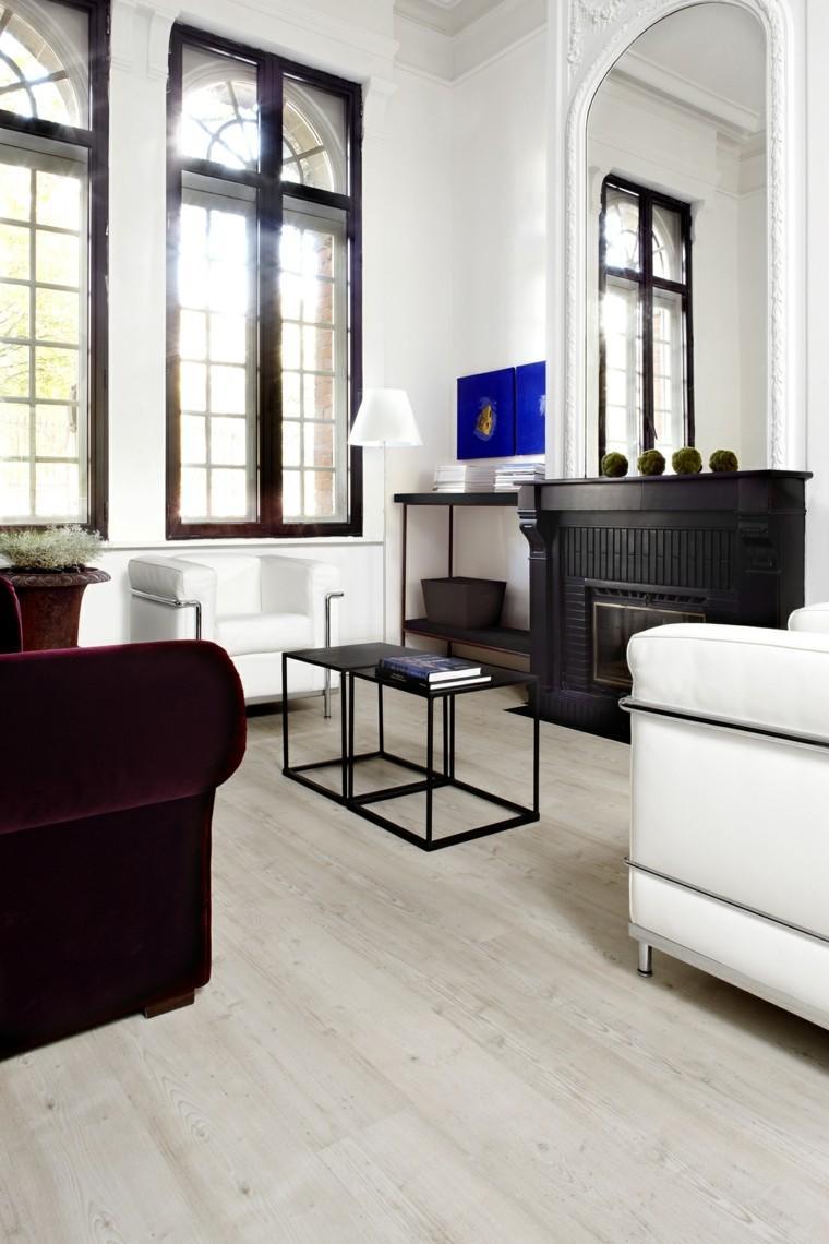baldosas azulejos imitan madera salon sofa rojo oscuro ideas