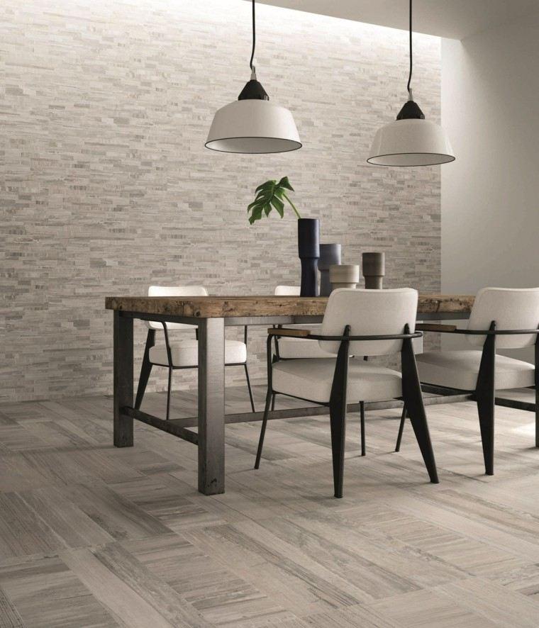baldosas azulejos imitan madera suelo comedor estilo vintage ideas