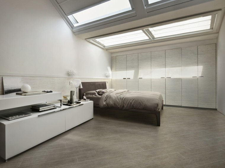 baldosas azulejos imitan madera suelo dormitorio moderno ideas