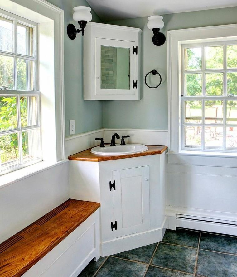 banco madera integrado baño rustico