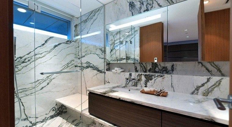 banos decoracion moderna pared marmol madera ducha ideas