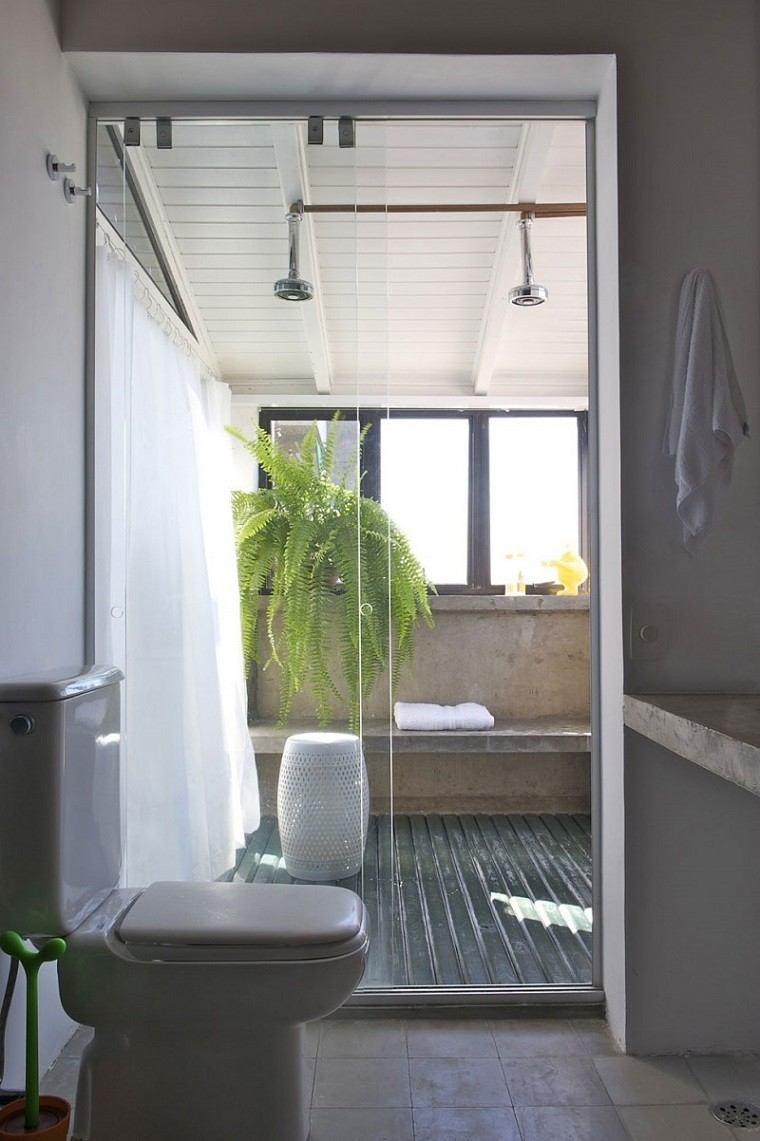 banos decoracion moderna planta verde ducha ideas
