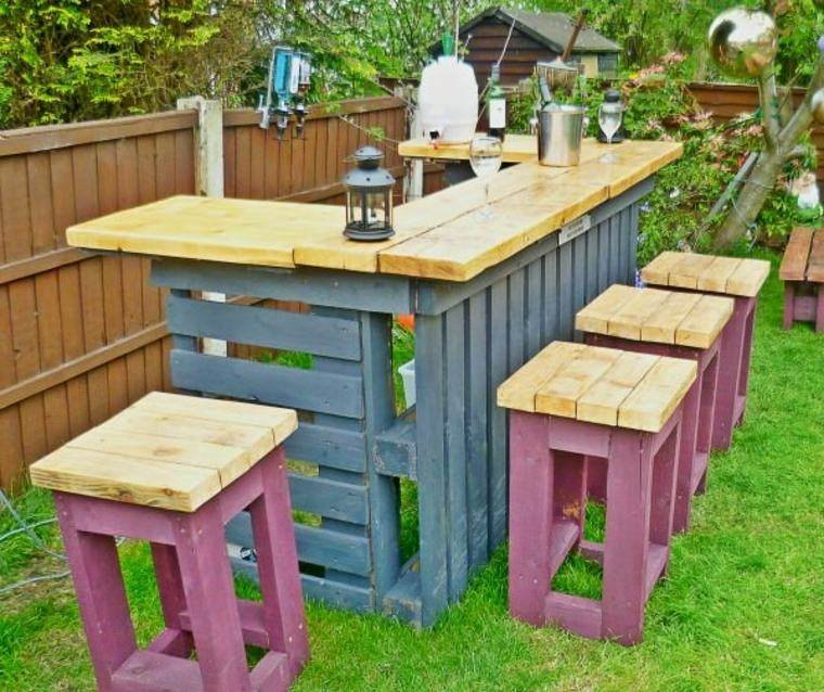 barra jardin taburetes madera
