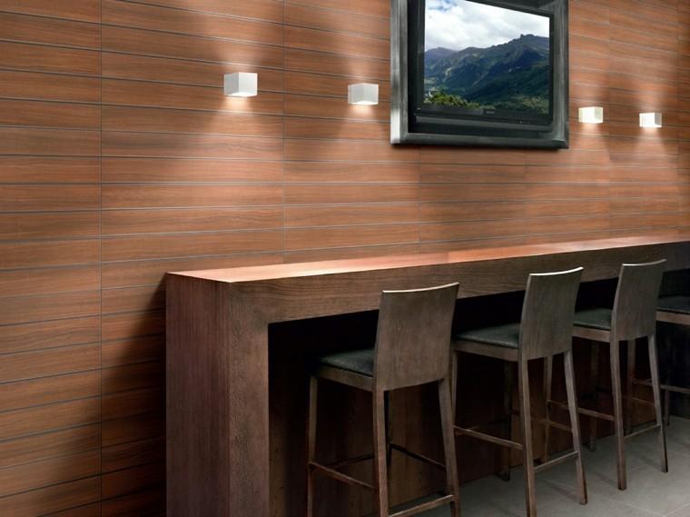 barra madera sillas altas pared losas madera ideas