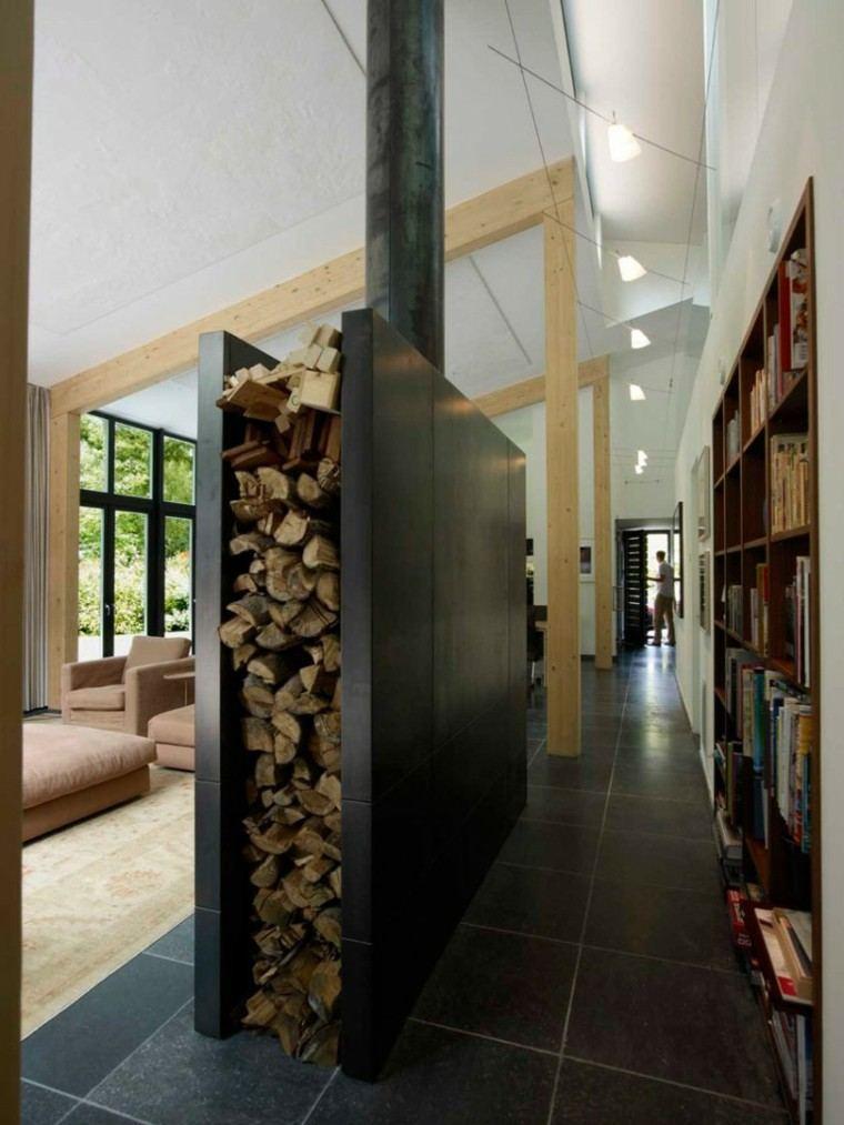 biblioteca decoracion casa madera chimenea
