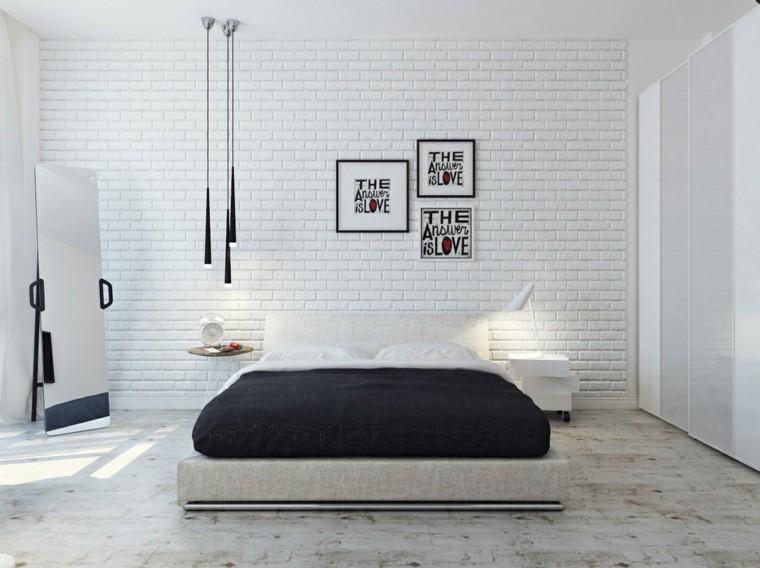 blanco ladrillos paredes espejo lamparas