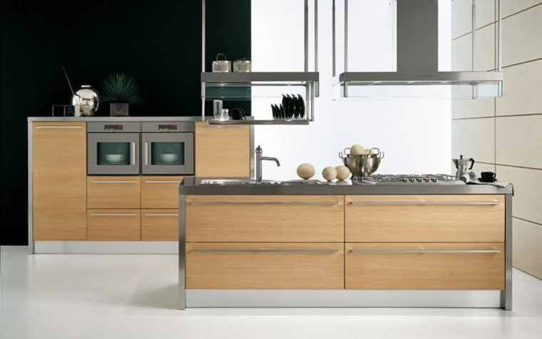 Color blanco y madera de roble para las cocinas modernas for Cocina con electrodomesticos de color negro