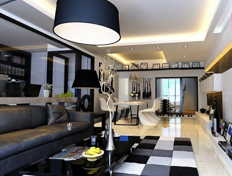 Blanco y negro 50 ideas para el sal n moderno y elegante - Salon moderno blanco ...