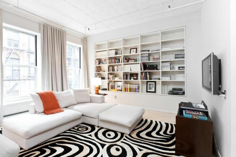blanco negro combinacion salon moderno alfombra estanterias ideas
