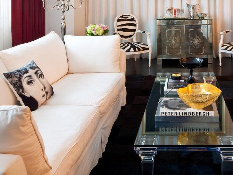 blanco negro combinacion salon moderno cojin estampa ideas