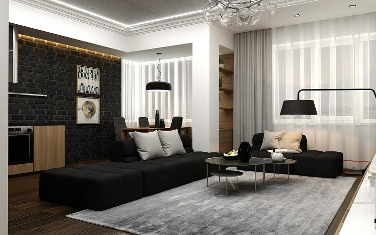 Blanco y negro 50 ideas para el sal n moderno y elegante for Cortinas salon gris y blanco