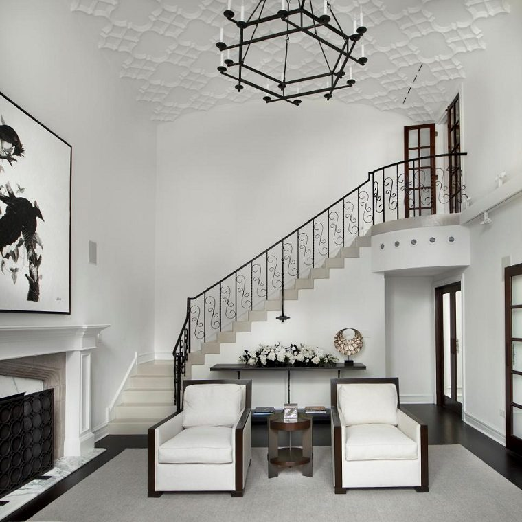 blanco negro combinacion salon modernocuadro grande chimenea ideas
