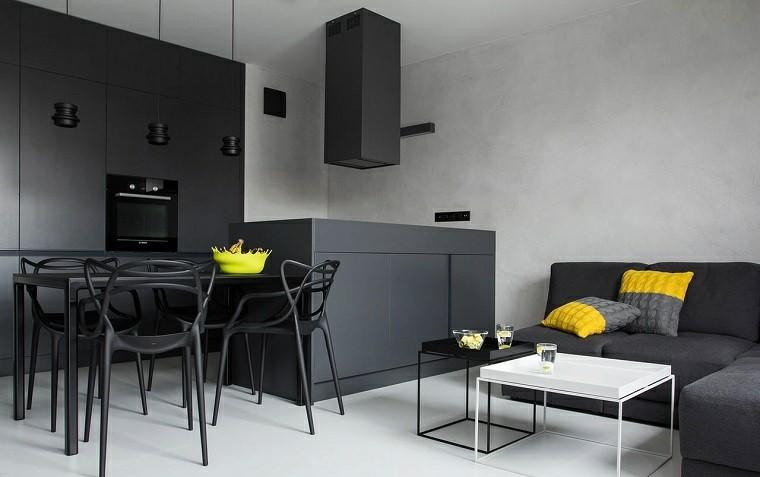 blanco negro combinacion salon moderno diseno minimalista ideas