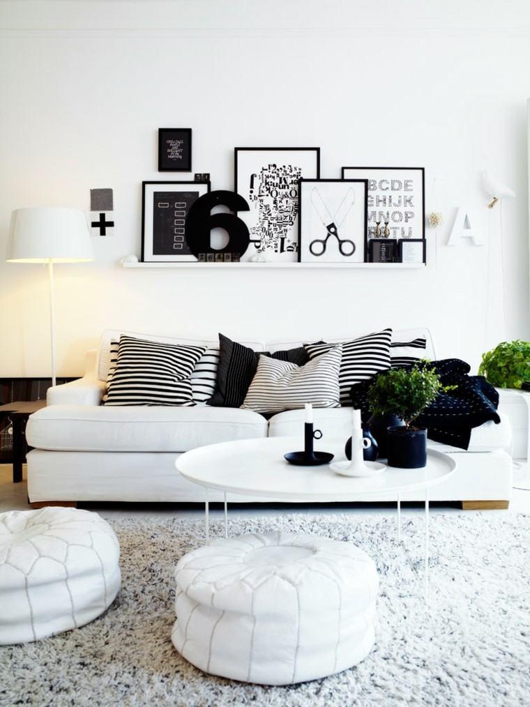 blanco negro combinacion salon moderno estanteria cuadros ideas