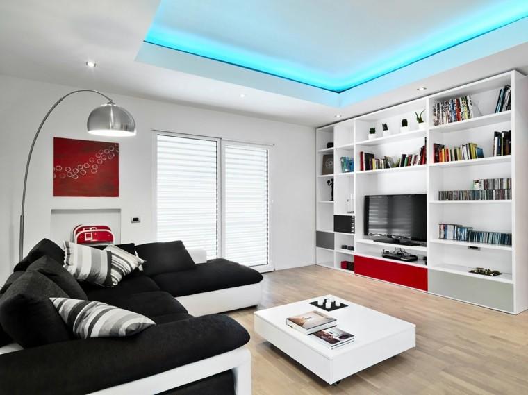 blanco y negro combinacion salon moderno estanterias pared ideas