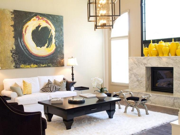 blanco y negro combinacion salon moderno jarrones amarillos ideas
