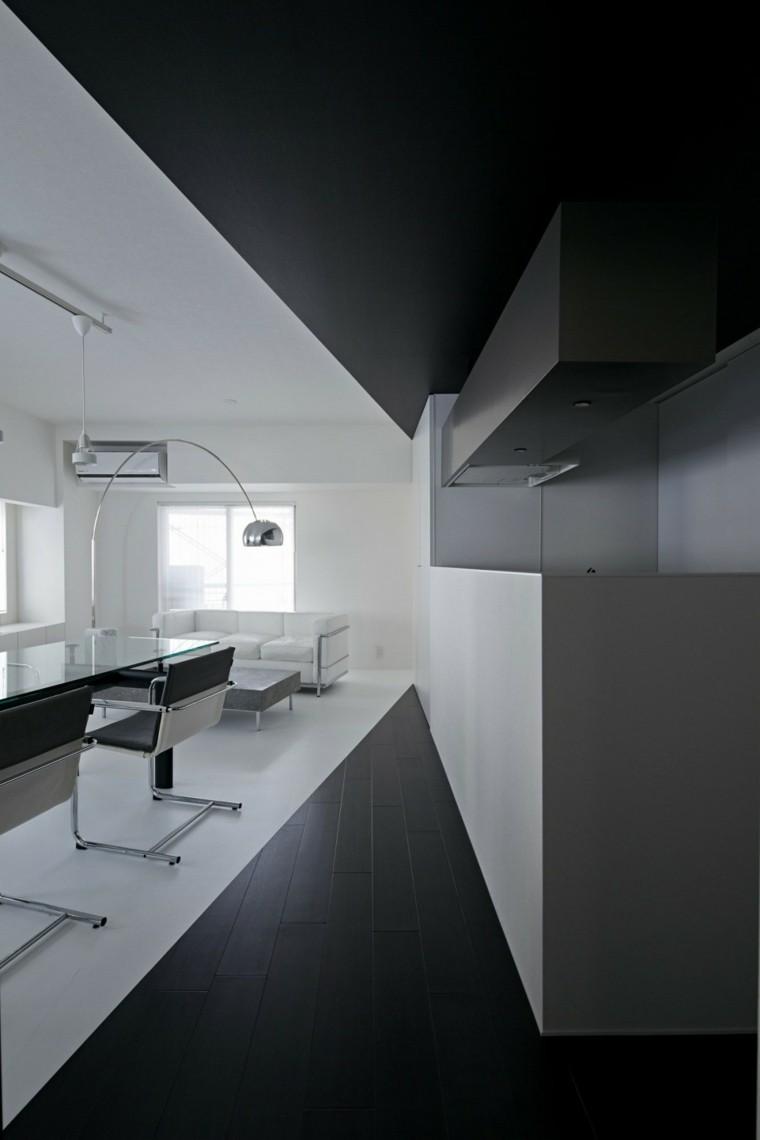 blanco y negro combinacion salon moderno losas negras ideas
