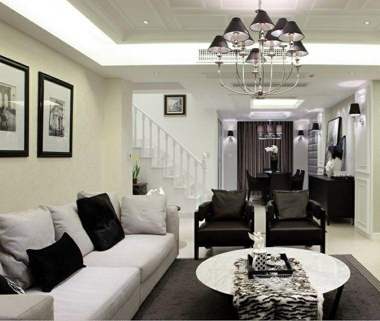 Blanco y negro 50 ideas para el sal n moderno y elegante - Salones en blanco y negro ...