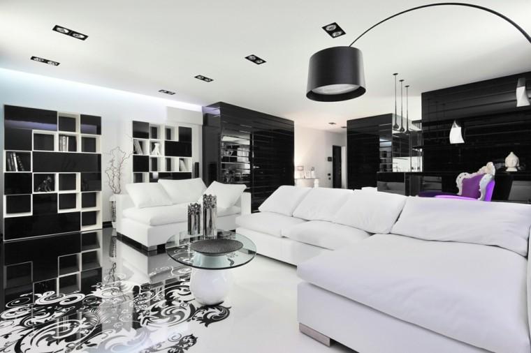 blanco y negro combinacion salon moderno mesa cristal pequena ideas