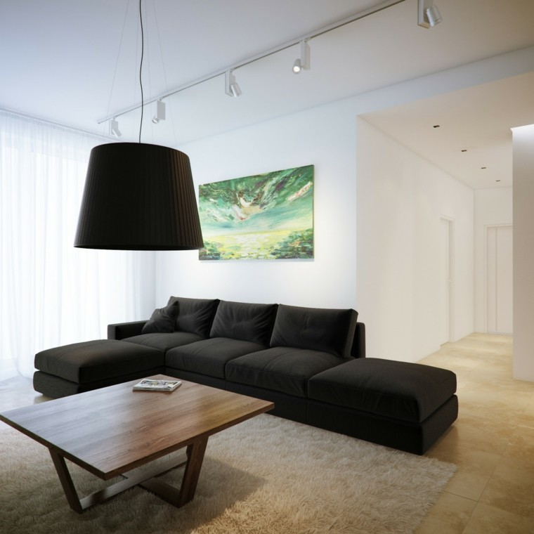 blanco y negro combinacion salon moderno mesa madera ideas