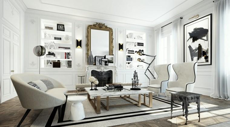 blanco y negro combinacion salon moderno mesa marmol ideas